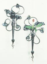 botanical blown glass and wrought iron sconce